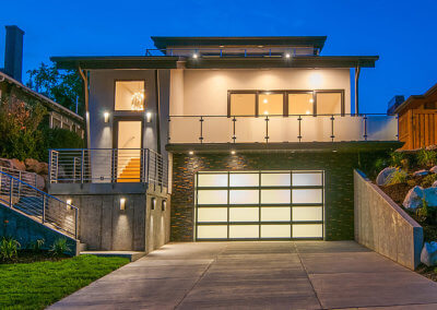 Gray Aluminum Full-View Garage Door with Frosted Glass