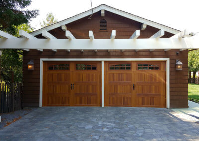 Stamped Carriage House Garage Door with Spade Hardware