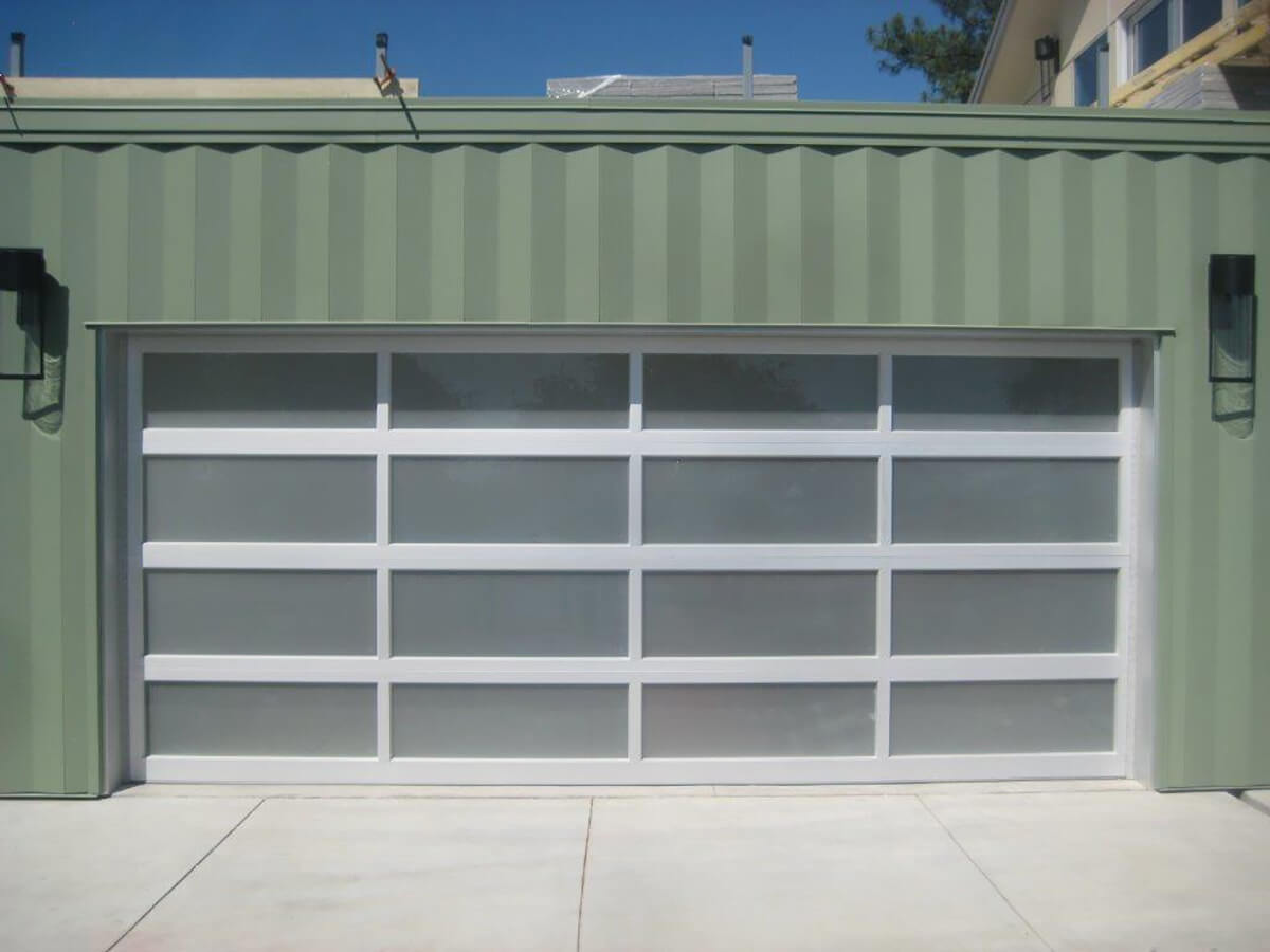 Aluminum Full View Frosted Glass Garage Door