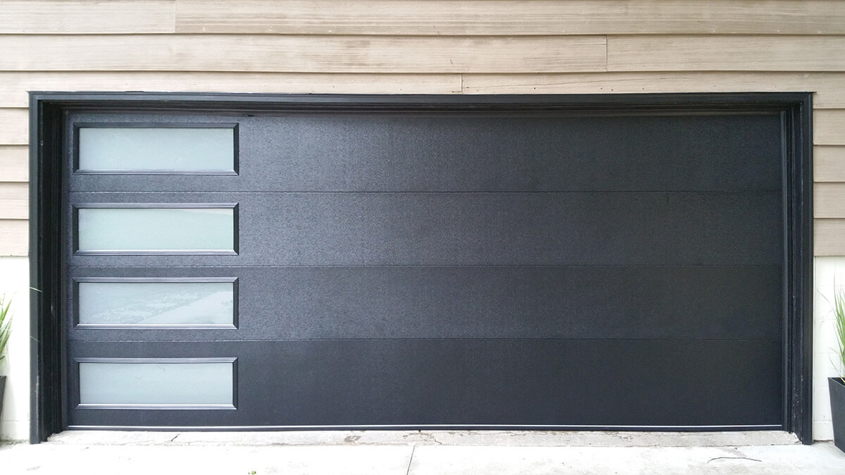 Powder Coated Flush Panel Garage Door With Frosted Windows