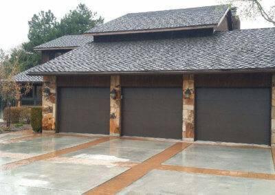 Flush Panel Residential Garage Door in Brown