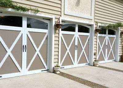 Overlay Carriage House Garage Door in White Sandstone