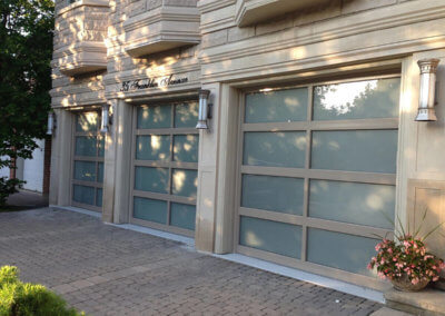 Powder-Coated Full-View Aluminum Garage Doors with Frosted Windows