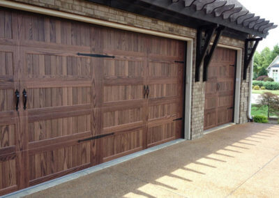 Steel Garage Door in Dark Oak