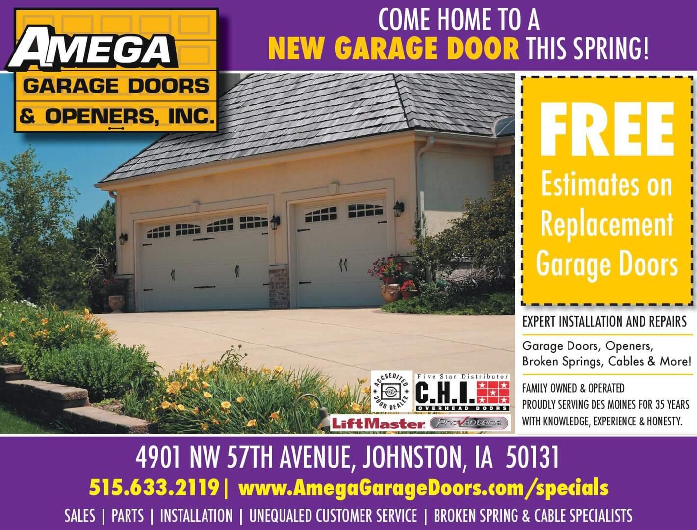 Spring 2021 Amega Garage Door specials. Free Estimates on replacement garage doors.